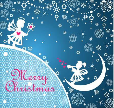 Magic Xmas greeting card decoration and Christmas star Vector Illustration