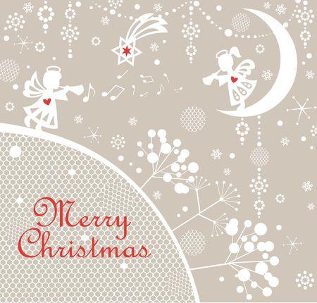 Pastel naive childish xmas greeting card, snowflakes and Christmas star Vetores