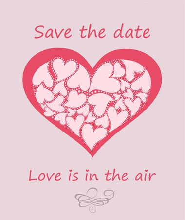 Greeting pastel card with heart shape for wedding invitation