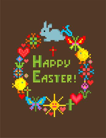 Happy Easter funny colorful embroidery napkin with bunny, cross, chicken, egg, butterfly, sun and hearts
