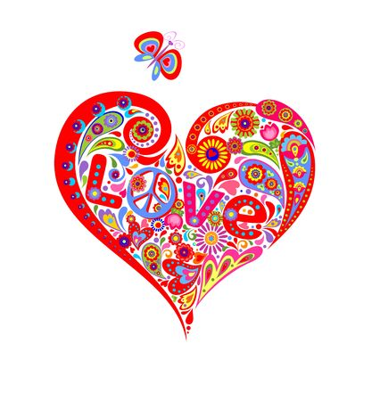 T shirt with colorful heart shape