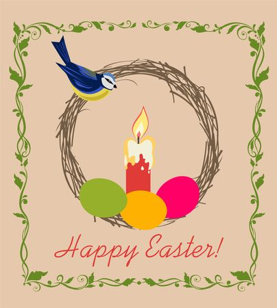 Easter greeting card with blue tit and floral vignette