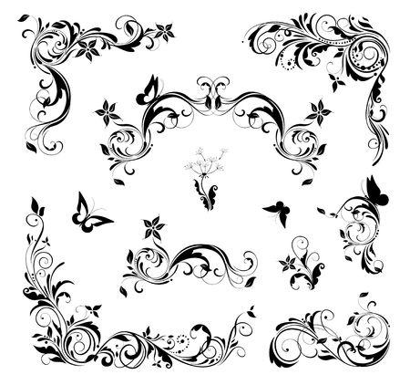 Retro flourishes design set for page decoration. Black and white Ilustração