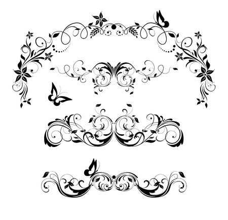 Vintage floral decorative headers and title collection. Black and white