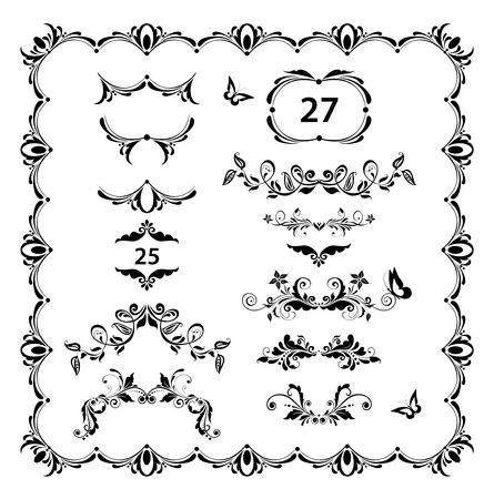 Vintage floral dividers, page ruler and headers vector set. Black and white retro design Ilustração