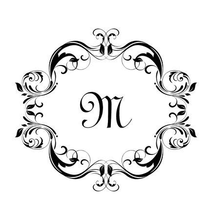 Vintage floral frame for heraldic design, label, boutique, wedding invitation, monogram, ceremony