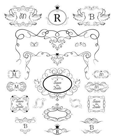 Ceremony, heraldic design, label, tags, boutique, signboard, monogram  イラスト・ベクター素材