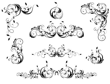 Vintage floral borders, angles and headers vector set. Black and white retro design