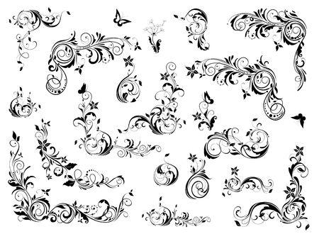 Vintage floral decoration collection. Baroque and rococo design elements