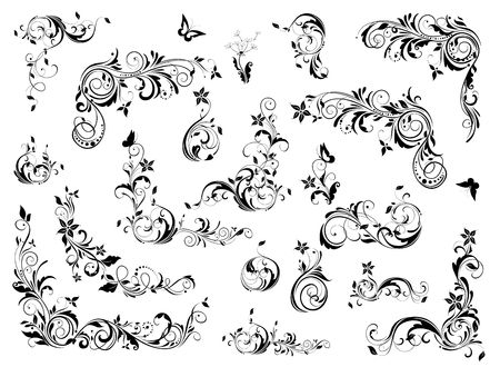 Vintage floral decoration collection. Baroque and rococo design elements