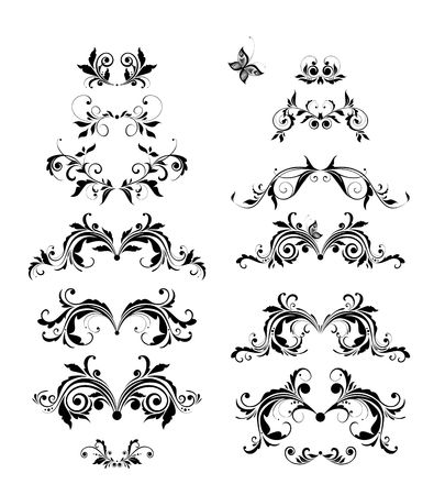 Vintage floral headers vector set. Black and white retro design