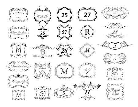 빈티지 페이지 눈금자, 구분선, 제목 및 머리글 벡터 집합입니다. 흑백 복고풍 디자인