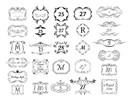 Vintage page ruler, dividers, title and headers vector set. Black and white retro design