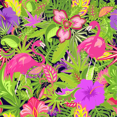 Beautiful Hawaiian wallpaper with tropical flowers, palm leaves and flamingos