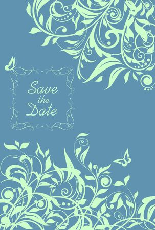 Beautiful wedding invitation with mint color floral pattern