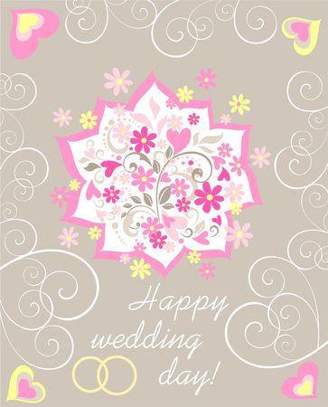 Pastel wedding greeting card