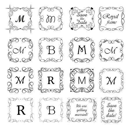 Vintage frames, vignette, title and headers vector set for book, labels, boutique, sign-board. Black and white retro design