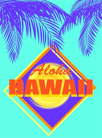 T-shirt mint color neon print with Aloha Hawaii orange lettering