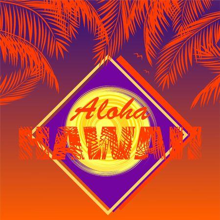T-shirt print with Aloha Hawaii lettering