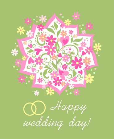 Pink hearts and wedding rings illustration