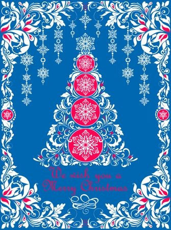 Ornaments, blue, red and white xmas tree