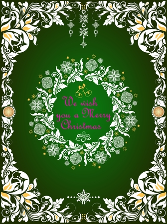 Green floral wreath with handmade snowflakes