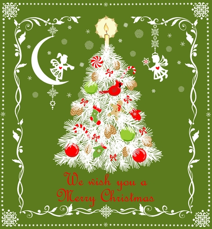 Paper Christmas Christmas Tree Cutting Greeting card for winter holiday