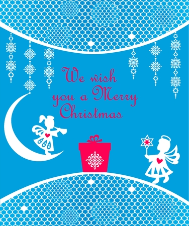 Christmas greeting card with white snowflakes, snowflakes, gift and lacy background Çizim