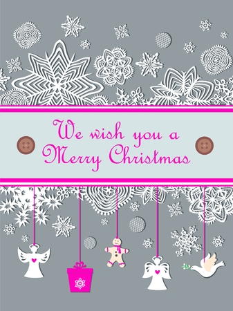 Christmas pastel greeting card with a little paper, white gingerbread, dove and snowflakes
