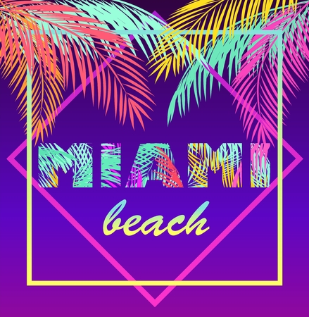 T-shirt neon violet print with colorful Miami beach lettering and coconut palm leaves