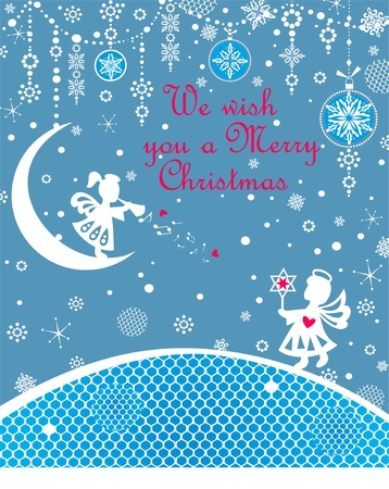 Xmas blue childish greeting card