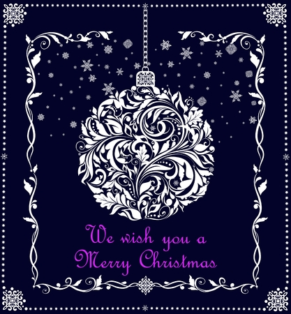 Xmas craft hanging ball with white paper cutting white floral pattern for Christmas greetings Çizim
