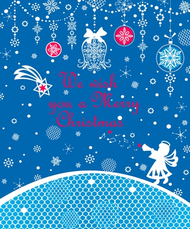 Xmas greeting card with jingle bell and white jingle bell
