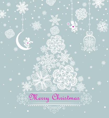 Xmas pastel greeting card with snowflakes