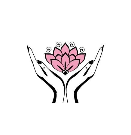 Female hands holding a beautiful pink lotus flower for logo design