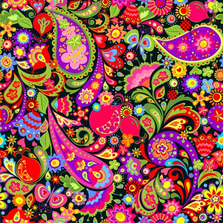 Floral seamless decorative floral paisley and pomegranate