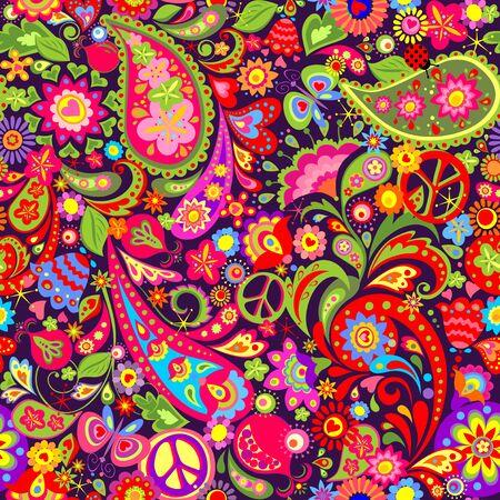 Hippie vivid pattern, peace symbol, butterfly, ladybird, pomegranate and paisley Çizim