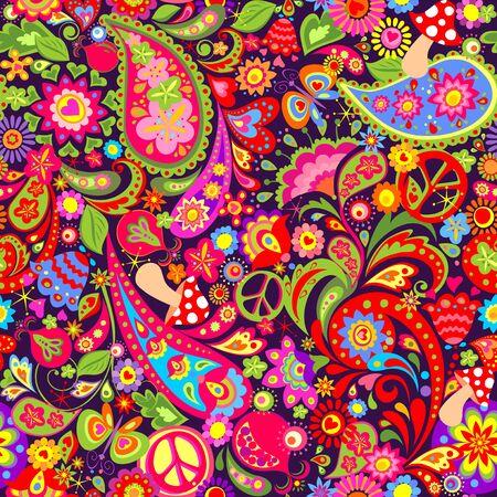 Hippie vivid pattern, peace, pomegranate and paisley Çizim