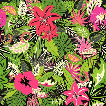 Tropical floral seamless pattern for your design, fabric, greeting card, invitation, summer party, web design Çizim