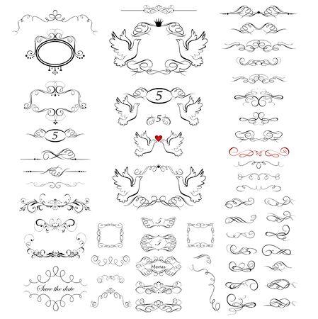 Sammlung schöner Rahmen, Vignette, Schriftrollen und Überschriften für Hochzeitsdesign