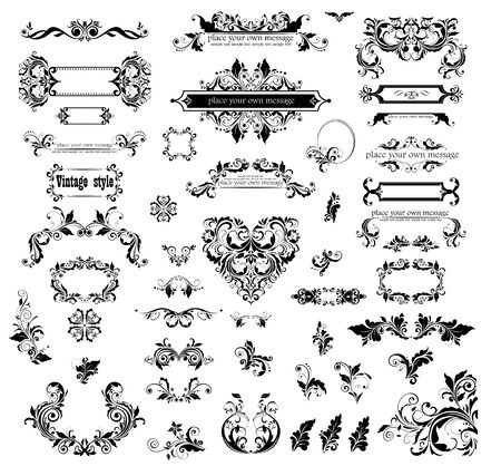 Collection of vector floral vintage floral frames and headers for design