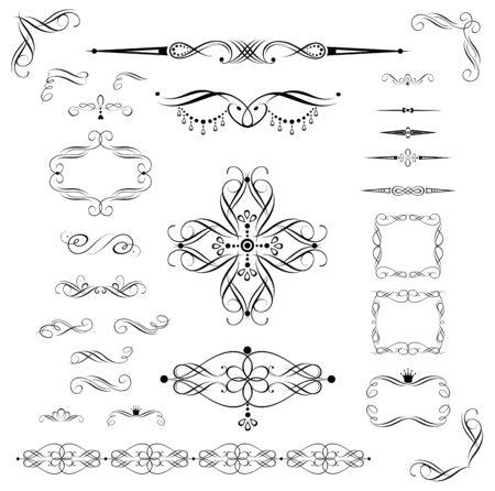 Decorative elements for vintage design Çizim