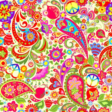 Hippie vivid flower pattern with rainbow, butterfly, pomegranate and paisley