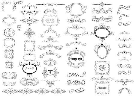 Set of vintage calligraphic frames, wedding, heraldic design