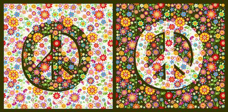 Flowers hippie colorful fashion wallpapers with peace symbol variation Reklamní fotografie - 132974391