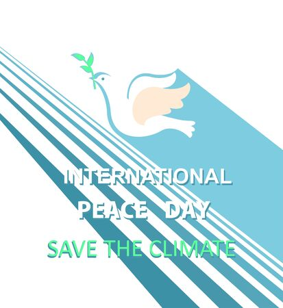 Greeting card with cut out paper flying dove with olive branch for International Peace day. Flat design