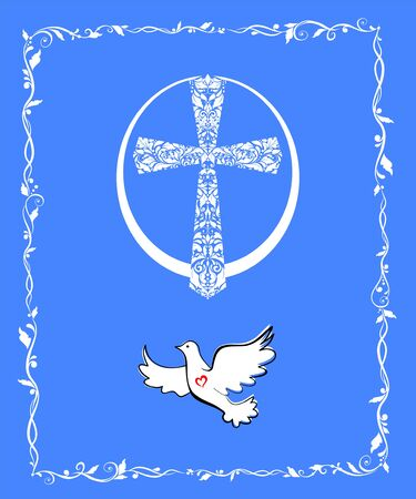 Greeting Easter blue card with flying dove, egg shape and vintage floral cross Çizim