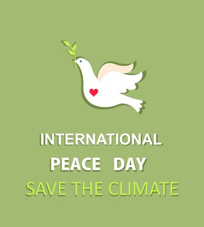 Greeting pastel green card with paper cut out dove with olive branch and International Peace day and save the climate lettering. Flat design