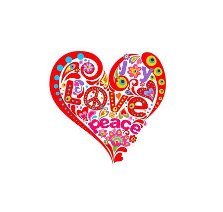 Forma abstracta de corazón rojo para estampado de camiseta con hippie simbólico, poder de las flores y ojos divertidos Ilustración de vector