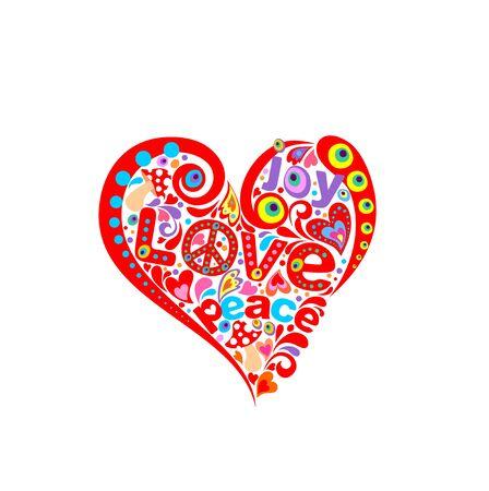 Forma abstracta de corazón rojo para estampado de camiseta con hippie simbólico.